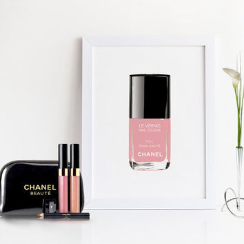 CHANEL NAIL POLISH,Coco Chanel Print,Makeup Art,Makeup Illustration,Makeup Bathroom Print,Makeup Sign,Chanel Print,Fashion Print,Glam Room