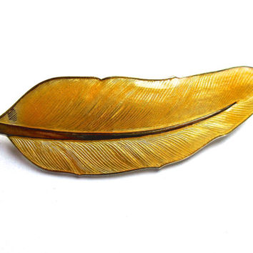 Yellow Feather Enamel Sterling Brooch Pin, E Dragsted Guilloche, Vintage