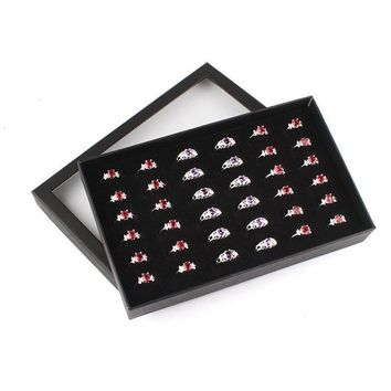 Transparent Window Exquisite Velvet Cufflinks Display Holder Show 36 Slots Earring Organizer Tray Storage Ring Box