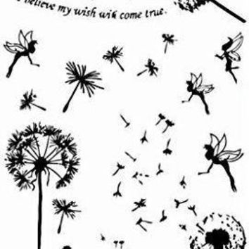 Fairy Temporary Tattoo - Dandelion Black Tattoo Bird Sticker Tattoo for Women