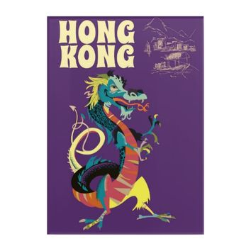 Hong Kong Dragon vintage travel poster Acrylic Wall Art