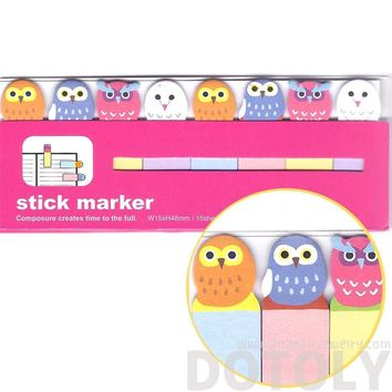 Colorful Owl Bird Shaped Sticky Memo Post-it Index Bookmark Tabs | Animal Themed Stationery