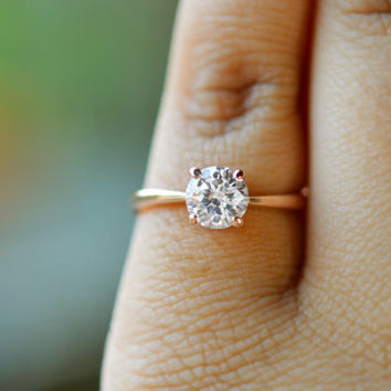 Rose Gold Ring 18k Rose Gold Engagement Ring Rose Gold Solitaire Ring Gold Promise Ring Gold Anniversary Ring CZ Ring Cubic Zirconia Ring