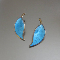 Leaf Earrings, Blue Enamel, Vintage David-Andersen Norway Sterling, Designer Willy Winnaess, Basse-Taille & Gold Wash, Lovely!