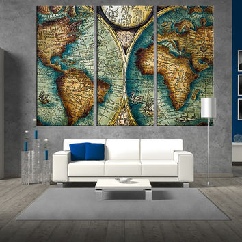 Antique world map wall art on canvas print, Large wall Art, large World Map print, extra large wall art, map of the world wall decor t284