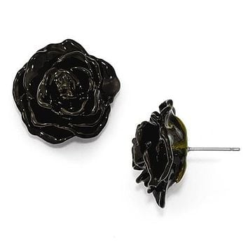 Lacquer Dipped Black Natural Rose Silver Earrings