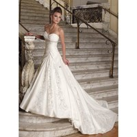 A-line Sweetheart Embroidery Beaded Net Wedding Dress - Star Bridal Apparel