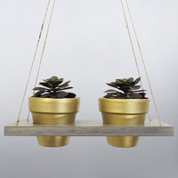 Succulent Planter, Hanging Planter, Terracotta Pot, Air Planter, Hanging Pot, Gold Planter, Modern Planter, Wood Planter, Rustic Planter