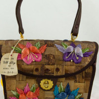 New Old Stock Whidby's Embroidered Straw Purse with Flowers - Edit Listing - Etsy