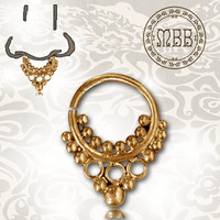 "Ornate 16g (1.2mm) Antiqued Afghan Tribal Brass Septum Nose Piercing 1/3"" ring diameter (8mm) and 17mm length Brass filigree"
