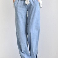 Large Size Women Simple Casual Show Thin Loose Jeans Wide Leg Leisure Pants Trousers