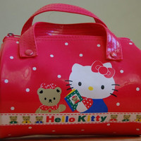 vintage hello kitty cylinder round purse pink red straps zipper sanrio japan zipper