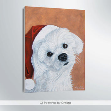 Christmas dog painting-christmas decor-christmas sign-9,5x7i-oil painting-dog portrait-christmas gift-art-portrait-pet lovers-christmas cap