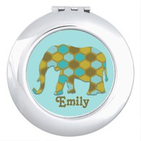 Personalized Olive Green, Blue Gold Elephant Mirror For Makeup