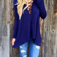 Blue Strappy V-Neck Long Sleeve Asymmetrical Casual Top