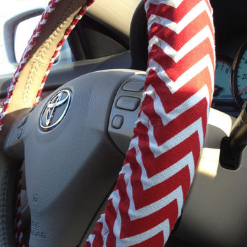 Steering Wheel Cover Red & White Chevron Fabric w/Your Bow Color Choice