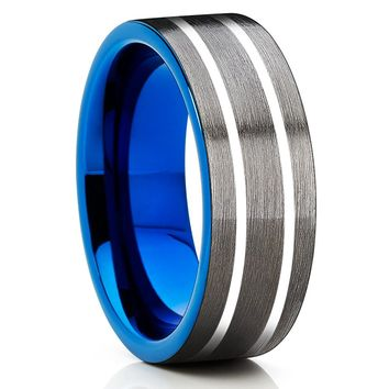 Blue Tungsten Band - Men's Wedding Band - 8mm - Tungsten Carbide - Gray