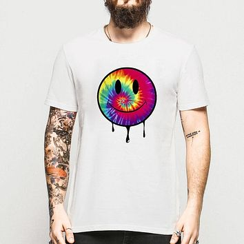 Smiley Face Men T Shirt Colorful Acid Dripping Tie Dye Style T-shirts Rave House Music Cotton Shirts