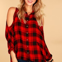 Plaid Cold Shoulder High-Low Top Red