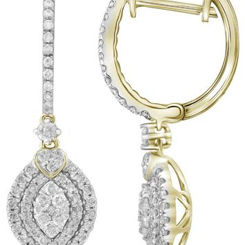 14kt Yellow Gold Womens Round Diamond Double Oval Frame Dangle Earrings 1.00 Cttw