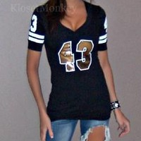 SEXY BLACK GOLD SPORT FOOTBALL JERSEY LOW CUT STRETCH TEE TOP #43 SAINTS X-LARGE
