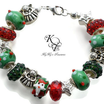 Santa Bracelet, Angel Bracelet, Christmas Bracelet, Holiday Jewelry, Santa Jewelry, Christmas Jewelry, Angel Jewelry, Large Hole Jewelry