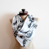 SCARF // White scarf, Pirate skull Scarf, Infinity Loop Scarf,  Prite skull,  Wide Scarf, Textile scarf, Timeless, cotton scarf, Neckwarmer