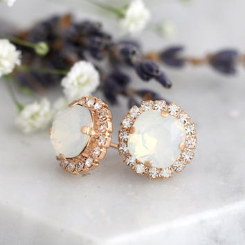 Opal Earrings, Bridal Opal Earrings, White Opal Swarovski Studs, Opal Gold Earrings, Bridesmaids Opal Earrings, Gift For Her, Opal Studs