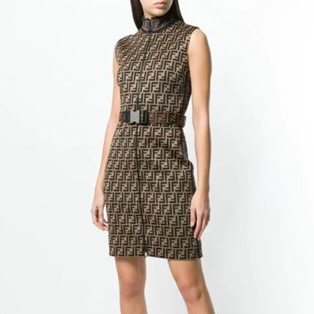 FENDI belted FF logo fitted dress