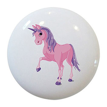 Carolina Hardware and Decor 1842 Pink & Purple Unicorn Ceramic Cabinet Drawer Knob