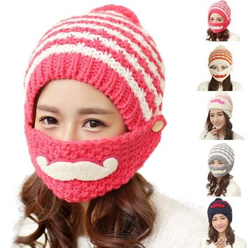 Cute Mustache Stripes Bearded Beanie Knitted Hat