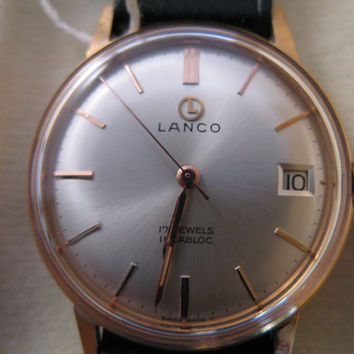 Vintage rare Lanco Swiss watch 17j incabloc NIB with tags men's wristwatch - Gift for him