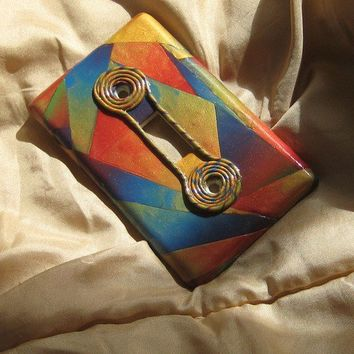 OOAK Single Light Switch Cover Colors of Sunset With Coil Accents