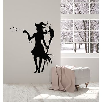 Vinyl Wall Decal Magic Witch With Broom Fairy Tale Sorceress Stickers Mural (g1823)