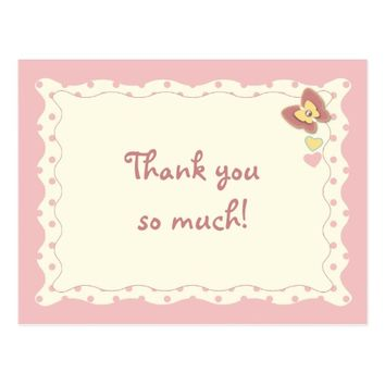 Thank you baby girl butterfly postcard