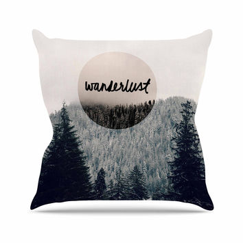 "Robin Dickinson ""Wanderlust"" Gray Black Outdoor Throw Pillow"
