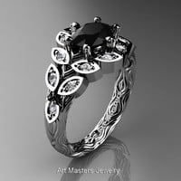Art Masters Nature Inspired 14K White Gold 1.0 Ct Oval Black White Diamond Leaf and Vine Solitaire Ring R267-14KWGDBD