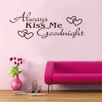 Black Always Kiss Me Goodnight Wall Decal Sticker Home Art Vinyl Removable Decor:Amazon:Home & Kitchen