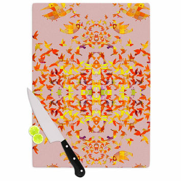 "Marianna Tankelevich ""Flying Birds"" Pink Abstract Cutting Board"