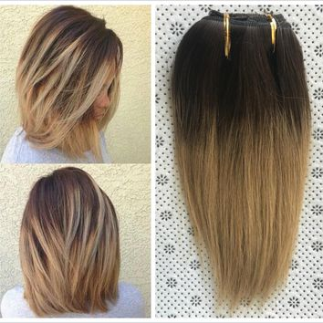 """10"""" Full Head Real Clip in Human Hair Extensions Ombre Hairpieces Brown Blonde"""