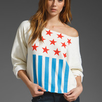 REBEL YELL Flag Boyfriend Pullover in Creme at Revolve Clothing
