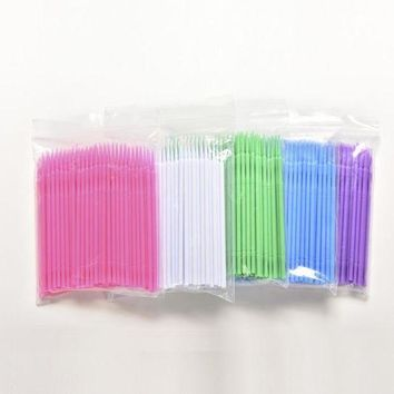 100 Pcs Lint Free Disposable Makeup Brushes Individual Lash Removing Tools Swab Microbrushes Eyelash Extension Tools 6 Colors