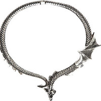 Silver tone short dragon necklace