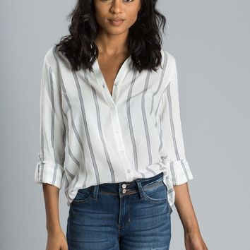 Lena Navy Stripe Button Up Top