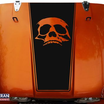 Skull Hood Blackout Vinyl Decal fits Jeep CJ5 CJ7 CJ8 Scrambler