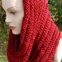 Knitted Autumn Red Infinity Scarf or Hooded Cowl