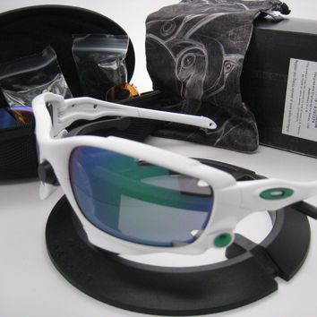 New Oakley Racing Jacket Vented Matte White w/Jade Iridium/P42 Iridium 9171-18
