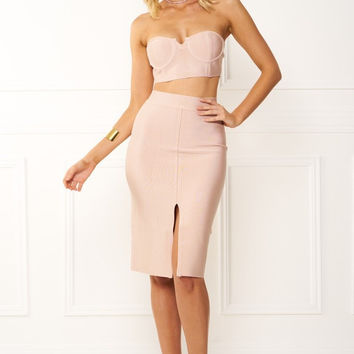 Honey Couture EMILIA Pink Crop Top & Bandage Pencil Skirt Set