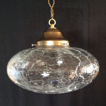 Vintage Clear Cracked Crackle Saucer Shaped Pendant Light Art Deco 1940s
