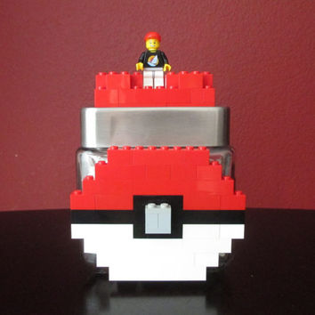Pokémon.Lego Glass Candy/Keepsake Jar.LEGO Minifigure.LEGO Bricks.LEGO Birthday party.Gamer Pokémon Pokéball Gift.Home Decor.Centerpiece